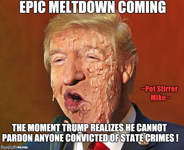 EPIC MELTDOWN COMING THE MOMENT TRUMP REALIZES HE CANNOT PARDON ANYONE CONVICTED OF STATE CRIMES ! ~Pot Stirrer Mike~ | image tagged in trump,meltdown | made w/ Imgflip meme maker