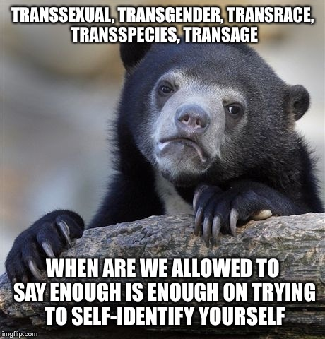 Confession Bear Meme | TRANSSEXUAL, TRANSGENDER, TRANSRACE, TRANSSPECIES, TRANSAGE WHEN ARE WE ALLOWED TO SAY ENOUGH IS ENOUGH ON TRYING TO SELF-IDENTIFY YOURSELF | image tagged in memes,confession bear | made w/ Imgflip meme maker