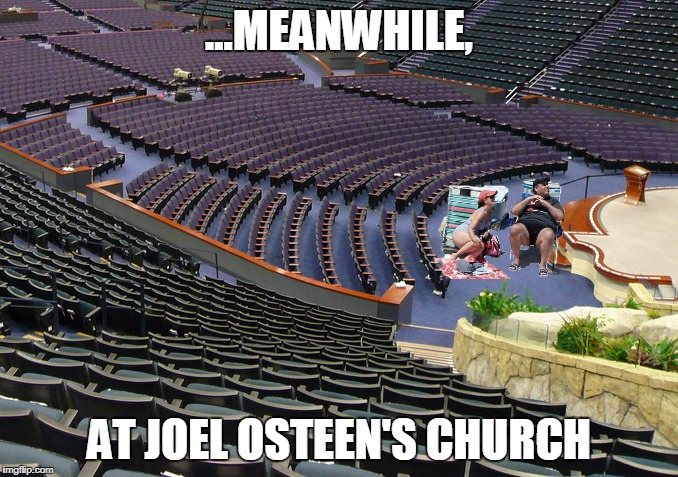 Chris Christie at Joel Osteen's Church | ...MEANWHILE, AT JOEL OSTEEN'S CHURCH | image tagged in chris christie,joel osteen,church,televangelist,memes,funny memes | made w/ Imgflip meme maker