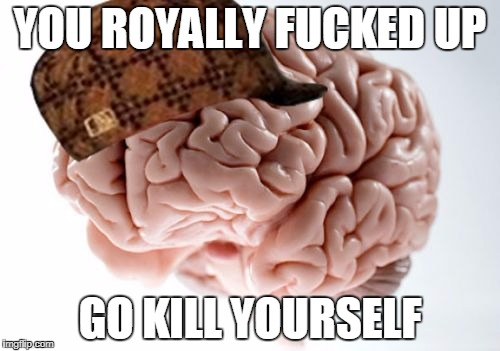 What My Brain Sometimes Does | YOU ROYALLY F**KED UP GO KILL YOURSELF | image tagged in memes,scumbag brain | made w/ Imgflip meme maker