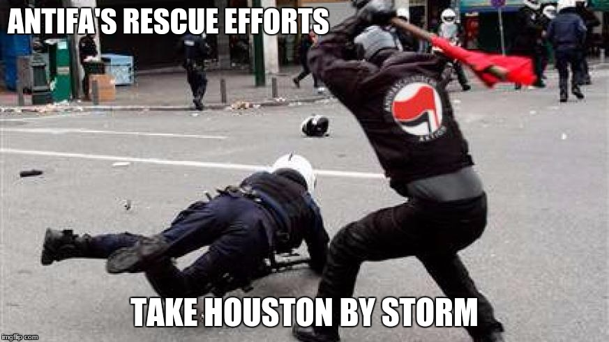 Antifa attack police | ANTIFA'S RESCUE EFFORTS TAKE HOUSTON BY STORM | image tagged in antifa,houston | made w/ Imgflip meme maker