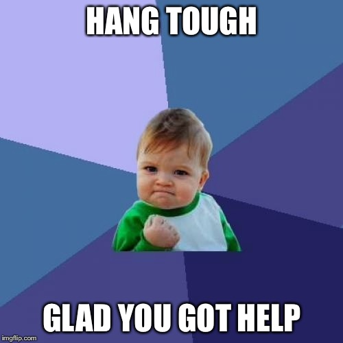 Success Kid Meme | HANG TOUGH GLAD YOU GOT HELP | image tagged in memes,success kid | made w/ Imgflip meme maker