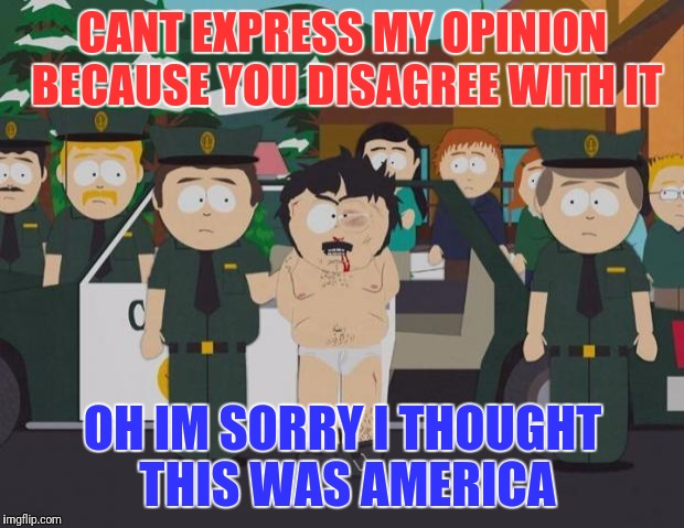 CANT EXPRESS MY OPINION BECAUSE YOU DISAGREE WITH IT OH IM SORRY I THOUGHT THIS WAS AMERICA | image tagged in randy marsh | made w/ Imgflip meme maker