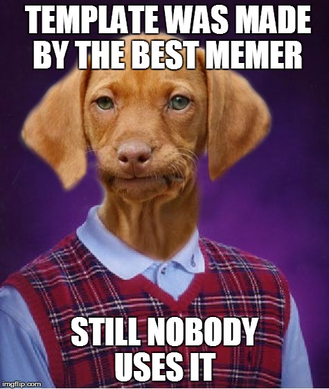 Bad Luck Raydog  | TEMPLATE WAS MADE BY THE BEST MEMER STILL NOBODY USES IT | image tagged in bad luck raydog | made w/ Imgflip meme maker