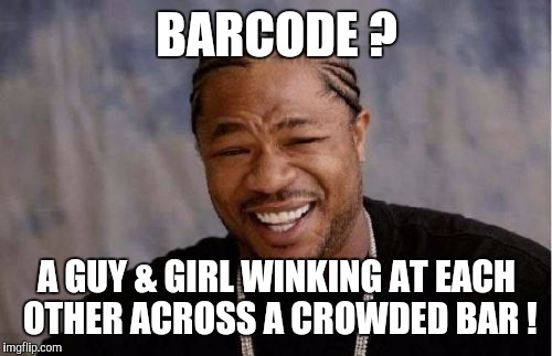 Yo Dawg Heard You | BARCODE ? A GUY & GIRL WINKING AT EACH OTHER ACROSS A CROWDED BAR ! | image tagged in memes,yo dawg heard you | made w/ Imgflip meme maker