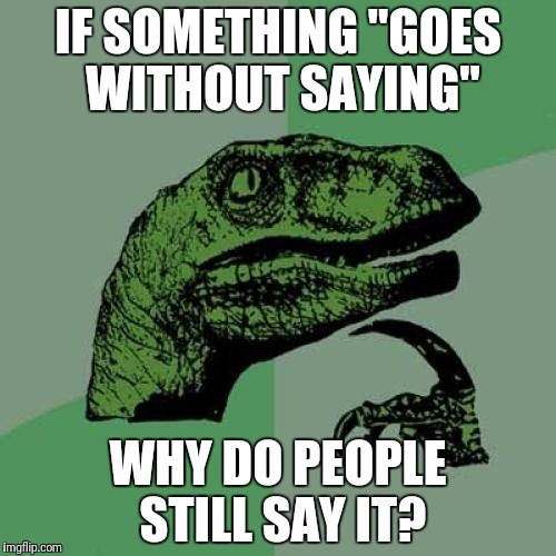 "Philosoraptor Meme | IF SOMETHING ""GOES WITHOUT SAYING"" WHY DO PEOPLE STILL SAY IT? 