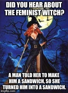 Red Head Witch | DID YOU HEAR ABOUT THE FEMINIST WITCH? A MAN TOLD HER TO MAKE HIM A SANDWICH, SO SHE TURNED HIM INTO A SANDWICH. | image tagged in red head witch | made w/ Imgflip meme maker