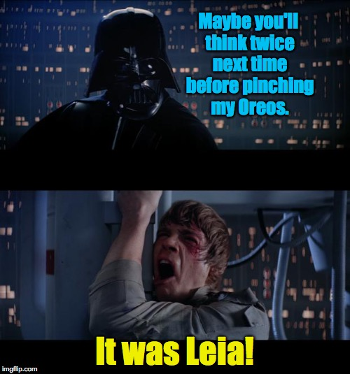 Kids need discipline, sure, and you're going to make mistakes... | Maybe you'll think twice next time before pinching my Oreos. It was Leia! | image tagged in memes,darth vader,star wars no,star wars | made w/ Imgflip meme maker