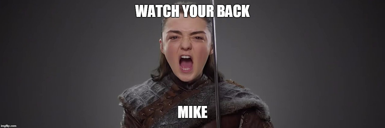 WATCH YOUR BACK MIKE | image tagged in arya stark | made w/ Imgflip meme maker