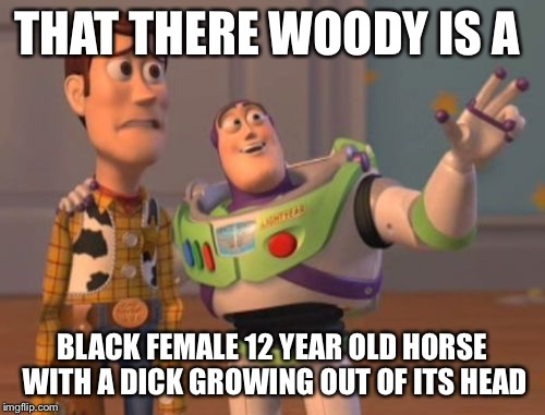 X, X Everywhere Meme | THAT THERE WOODY IS A BLACK FEMALE 12 YEAR OLD HORSE WITH A DICK GROWING OUT OF ITS HEAD | image tagged in memes,x,x everywhere,x x everywhere | made w/ Imgflip meme maker
