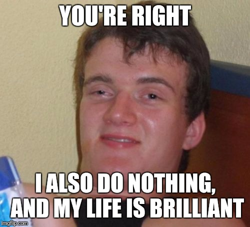 10 Guy Meme | YOU'RE RIGHT I ALSO DO NOTHING, AND MY LIFE IS BRILLIANT | image tagged in memes,10 guy | made w/ Imgflip meme maker
