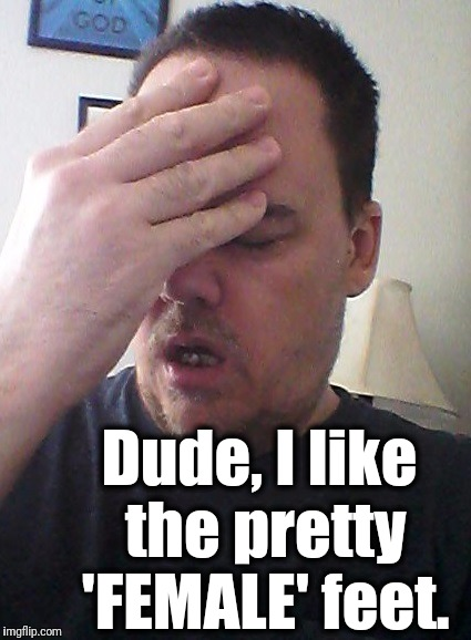 face palm | Dude, I like the pretty 'FEMALE' feet. | image tagged in face palm | made w/ Imgflip meme maker