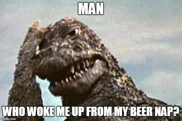 Godzilla Facepalm | MAN WHO WOKE ME UP FROM MY BEER NAP? | image tagged in godzilla facepalm | made w/ Imgflip meme maker