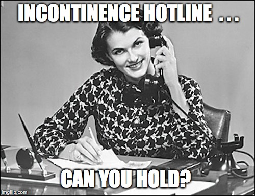 INCONTINENCE HOTLINE  . . . CAN YOU HOLD? | image tagged in punny,secretary | made w/ Imgflip meme maker
