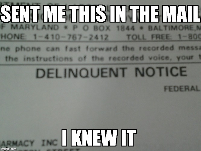 dad got this in the mail...what exactly is a delinquent notice? | image tagged in delinquent | made w/ Imgflip meme maker