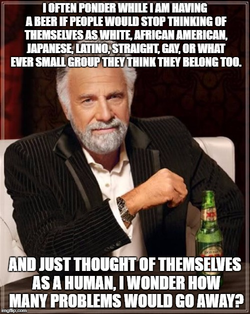 The Most Interesting Man In The World Meme | I OFTEN PONDER WHILE I AM HAVING A BEER IF PEOPLE WOULD STOP THINKING OF THEMSELVES AS WHITE, AFRICAN AMERICAN, JAPANESE, LATINO, STRAIGHT,  | image tagged in memes,the most interesting man in the world | made w/ Imgflip meme maker