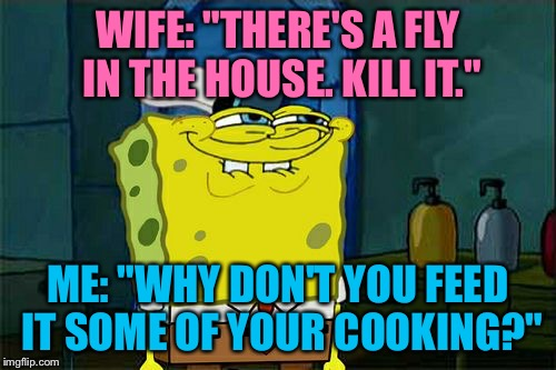 "Dont You Squidward Meme | WIFE: ""THERE'S A FLY IN THE HOUSE. KILL IT."" ME: ""WHY DON'T YOU FEED IT SOME OF YOUR COOKING?"" 