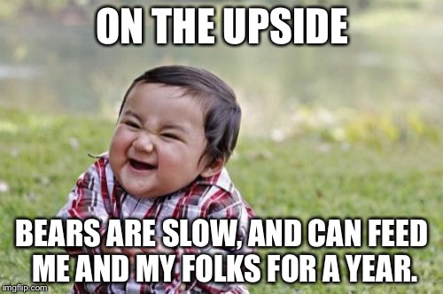 Evil Toddler Meme | ON THE UPSIDE BEARS ARE SLOW, AND CAN FEED ME AND MY FOLKS FOR A YEAR. | image tagged in memes,evil toddler | made w/ Imgflip meme maker