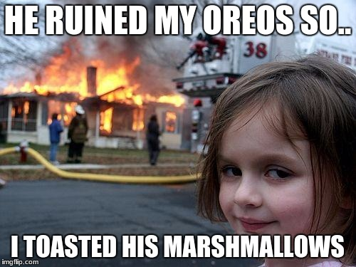 toasted marshmallows | HE RUINED MY OREOS SO.. I TOASTED HIS MARSHMALLOWS | image tagged in memes,disaster girl,marshmallow,toast | made w/ Imgflip meme maker