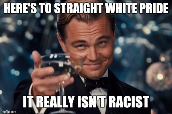 Leonardo Dicaprio Cheers Meme | HERE'S TO STRAIGHT WHITE PRIDE IT REALLY ISN'T RACIST | image tagged in memes,leonardo dicaprio cheers | made w/ Imgflip meme maker