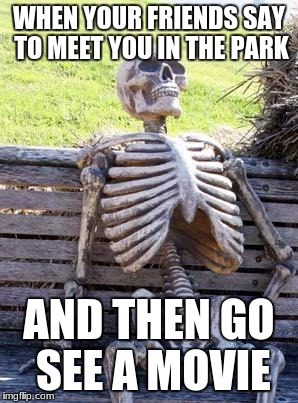 Waiting Skeleton Meme | WHEN YOUR FRIENDS SAY TO MEET YOU IN THE PARK AND THEN GO SEE A MOVIE | image tagged in memes,waiting skeleton | made w/ Imgflip meme maker