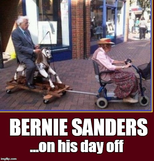 A FREE RIDE: practicing what you preach | BERNIE SANDERS ...on his day off | image tagged in vince vance,bernie sanders,sen bernie sanders,hobby horse,memes,liberal vs conservative | made w/ Imgflip meme maker