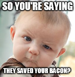 Skeptical Baby Meme | SO YOU'RE SAYING THEY SAVED YOUR BACON? | image tagged in memes,skeptical baby | made w/ Imgflip meme maker