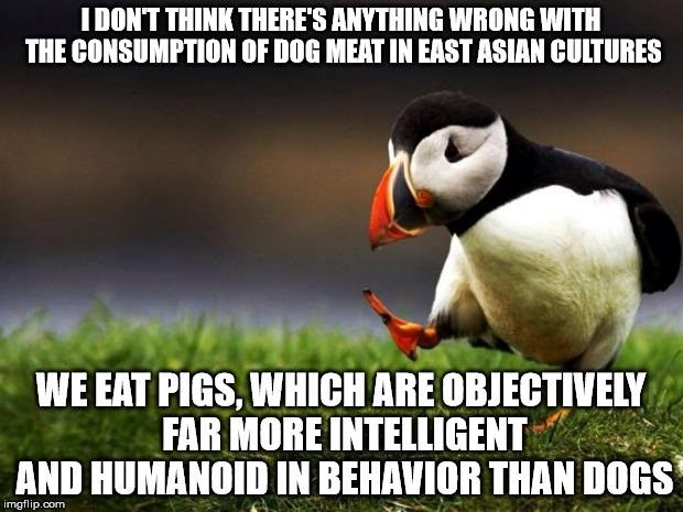Unpopular Opinion Puffin Meme | I DON'T THINK THERE'S ANYTHING WRONG WITH THE CONSUMPTION OF DOG MEAT IN EAST ASIAN CULTURES WE EAT PIGS, WHICH ARE OBJECTIVELY FAR MORE INT | image tagged in memes,unpopular opinion puffin | made w/ Imgflip meme maker