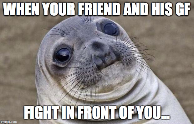 Awkward Moment Sealion Meme | WHEN YOUR FRIEND AND HIS GF FIGHT IN FRONT OF YOU... | image tagged in memes,awkward moment sealion | made w/ Imgflip meme maker