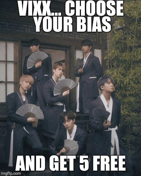 VIXX... CHOOSE YOUR BIAS AND GET 5 FREE | image tagged in vixx bias | made w/ Imgflip meme maker