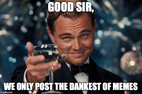 Leonardo Dicaprio Cheers Meme | GOOD SIR, WE ONLY POST THE DANKEST OF MEMES | image tagged in memes,leonardo dicaprio cheers | made w/ Imgflip meme maker