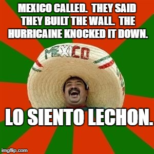 succesful mexican | MEXICO CALLED.  THEY SAID THEY BUILT THE WALL.  THE HURRICAINE KNOCKED IT DOWN. LO SIENTO LECHON. | image tagged in succesful mexican | made w/ Imgflip meme maker