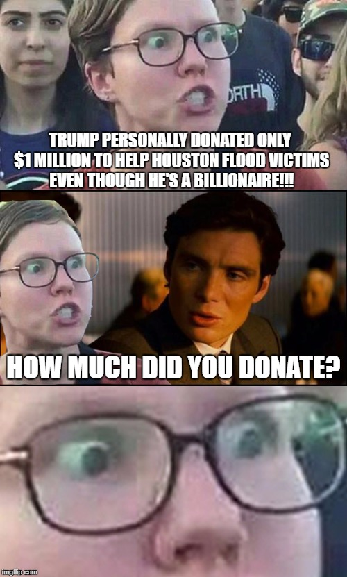 Inception Liberal | TRUMP PERSONALLY DONATED ONLY $1 MILLION TO HELP HOUSTON FLOOD VICTIMS EVEN THOUGH HE'S A BILLIONAIRE!!! HOW MUCH DID YOU DONATE? | image tagged in inception liberal | made w/ Imgflip meme maker