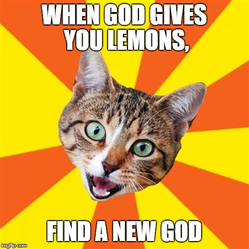 Bad Advice Cat | WHEN GOD GIVES YOU LEMONS, FIND A NEW GOD | image tagged in memes,bad advice cat | made w/ Imgflip meme maker
