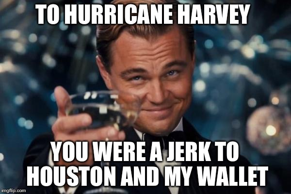 Leonardo Dicaprio Cheers Meme | TO HURRICANE HARVEY YOU WERE A JERK TO HOUSTON AND MY WALLET | image tagged in memes,leonardo dicaprio cheers | made w/ Imgflip meme maker
