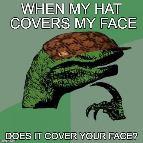 Philosoraptor Meme | WHEN MY HAT COVERS MY FACE DOES IT COVER YOUR FACE? | image tagged in memes,philosoraptor,scumbag | made w/ Imgflip meme maker
