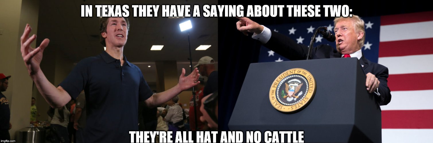 All Hat | IN TEXAS THEY HAVE A SAYING ABOUT THESE TWO: THEY'RE ALL HAT AND NO CATTLE | image tagged in donald trump | made w/ Imgflip meme maker