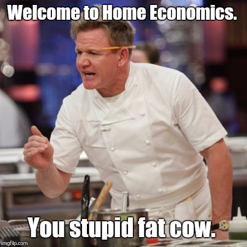 Welcome to Home Economics. You stupid fat cow. | made w/ Imgflip meme maker