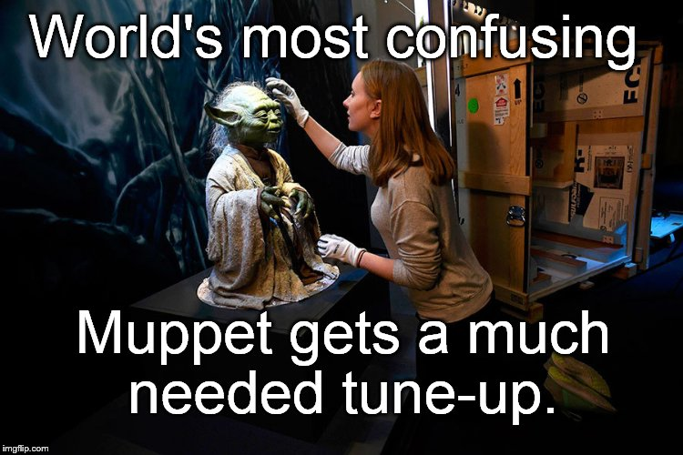 Yoda hitting on museum babe | World's most confusing Muppet gets a much needed tune-up. | image tagged in yoda hitting on museum babe | made w/ Imgflip meme maker