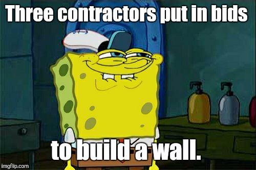 Dont You Squidward Meme | Three contractors put in bids to build a wall. | image tagged in memes,dont you squidward | made w/ Imgflip meme maker