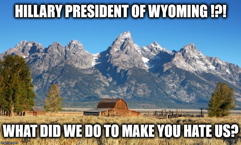 HILLARY PRESIDENT OF WYOMING !?! WHAT DID WE DO TO MAKE YOU HATE US? | made w/ Imgflip meme maker