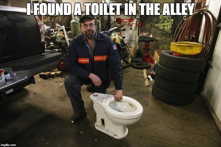 I tried it and it works good. | I FOUND A TOILET IN THE ALLEY | image tagged in toilet man,crapper,its free,it was used man,nice flow to it,stupid meme | made w/ Imgflip meme maker
