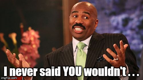 Steve Harvey Meme | I never said YOU wouldn't . . . | image tagged in memes,steve harvey | made w/ Imgflip meme maker
