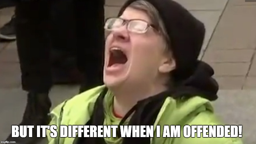 BUT IT'S DIFFERENT WHEN I AM OFFENDED! | made w/ Imgflip meme maker