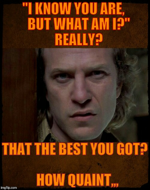 """I KNOW YOU ARE,          BUT WHAT AM I?""                 REALLY? THAT THE BEST YOU GOT?                           HOW QUAINT,,, 