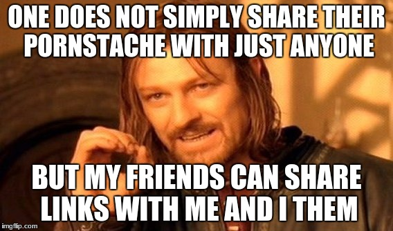 One Does Not Simply Meme | ONE DOES NOT SIMPLY SHARE THEIR PORNSTACHE WITH JUST ANYONE BUT MY FRIENDS CAN SHARE LINKS WITH ME AND I THEM | image tagged in memes,one does not simply | made w/ Imgflip meme maker