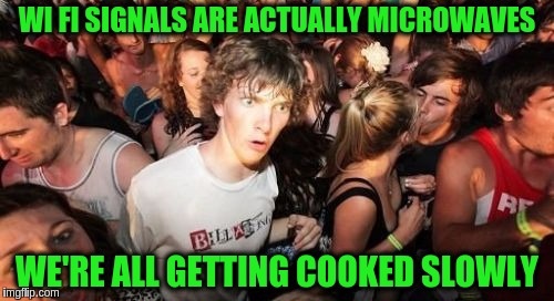 Sudden Clarity Clarence Meme | WI FI SIGNALS ARE ACTUALLY MICROWAVES WE'RE ALL GETTING COOKED SLOWLY | image tagged in memes,sudden clarity clarence,funny,wifi,microwave | made w/ Imgflip meme maker