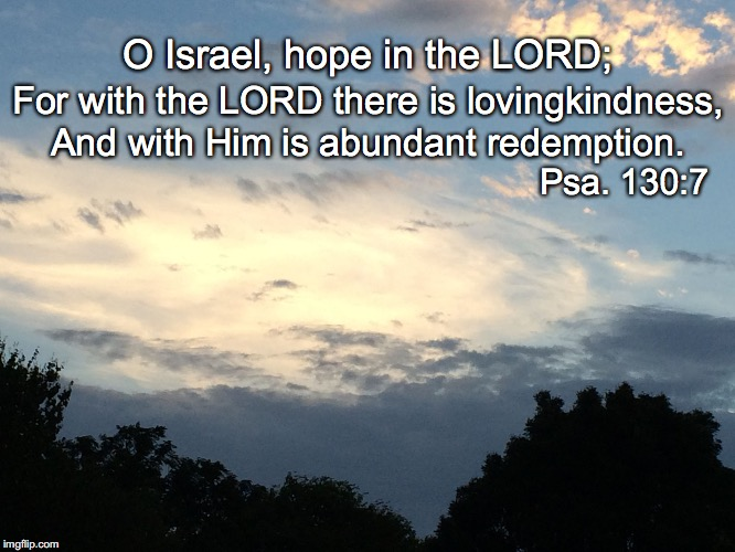 O Israel, hope in the LORD; For with the LORD there is lovingkindness, And with Him is abundant redemption. Psa. 130:7 | image tagged in redemption | made w/ Imgflip meme maker