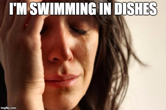 First World Problems Meme | I'M SWIMMING IN DISHES | image tagged in memes,first world problems | made w/ Imgflip meme maker