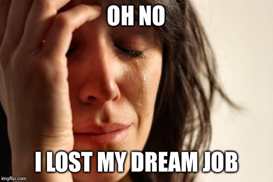 First World Problems Meme | OH NO I LOST MY DREAM JOB | image tagged in memes,first world problems | made w/ Imgflip meme maker